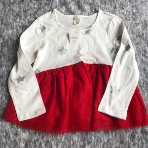 New baby gap 4 yr girls tulle star red silver top
